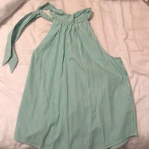 Green and white striped j crew top